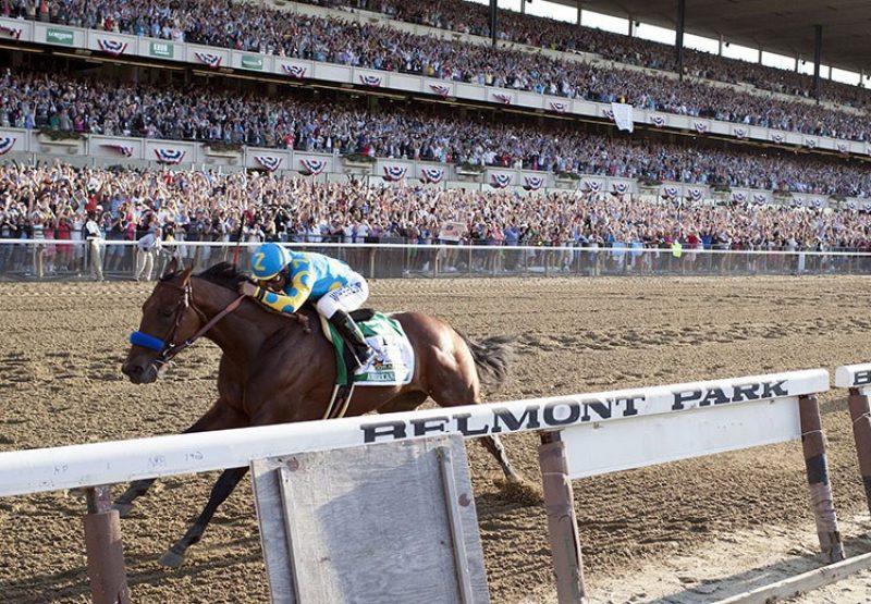 American Pharoah winning the Belmont Stakes
