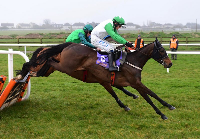 Getaway Gorgeous (Getaway) wins the Mares Maiden Hurdle at Wexford