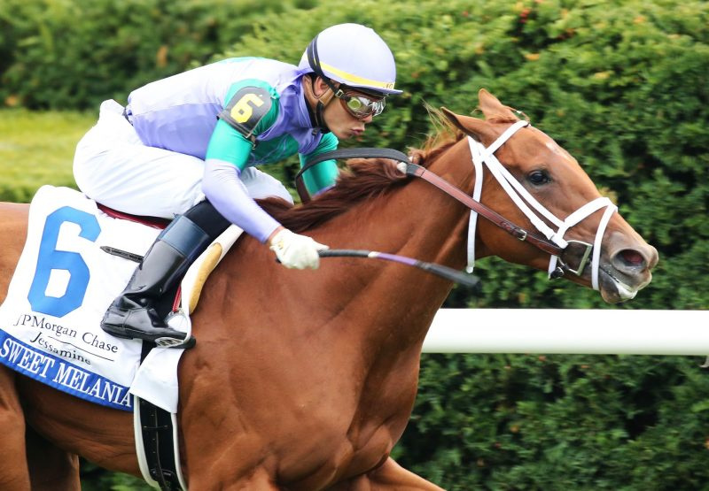 Sweet Melania (American Pharoah) winning the Gr.2 Jessamine Stakes at Keeneland