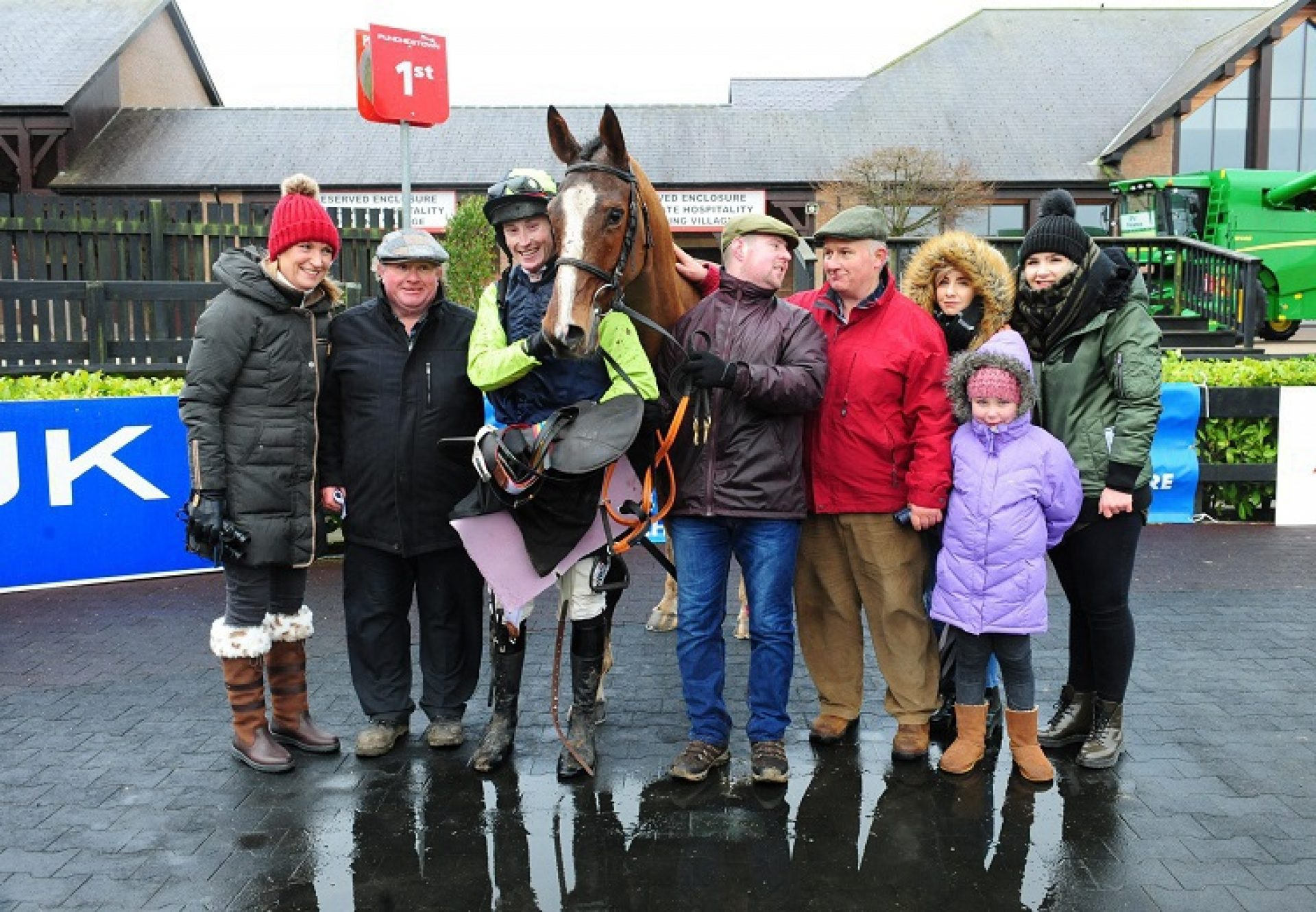 Gallahers Cross (Getaway) pictured with connections after winning his point-to-point at Punchestown