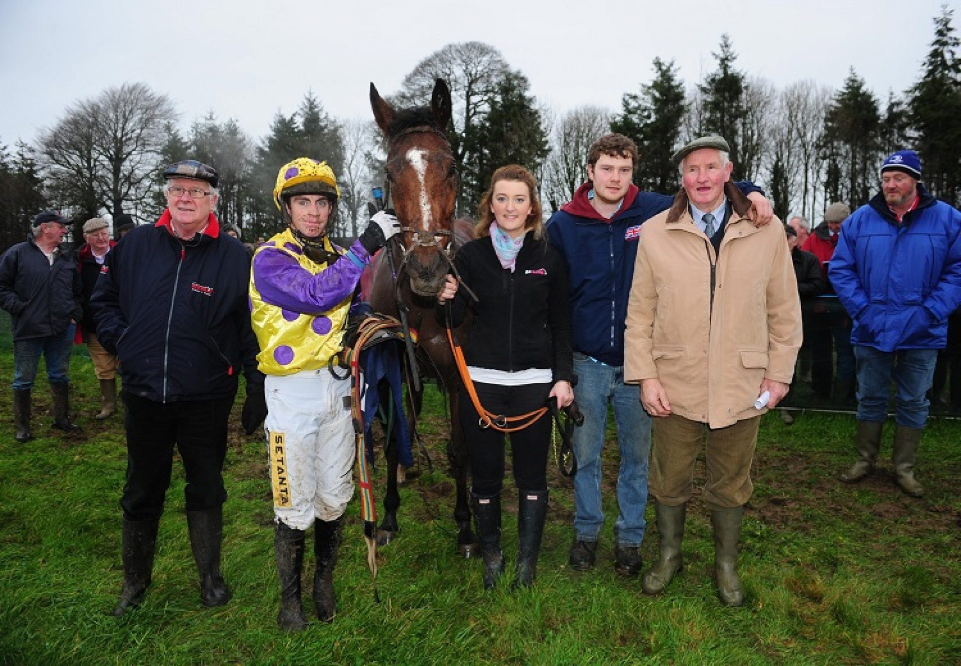 Three Swallowsnick (Wester) pictured with connections after winning a 4yo mares point-to-point