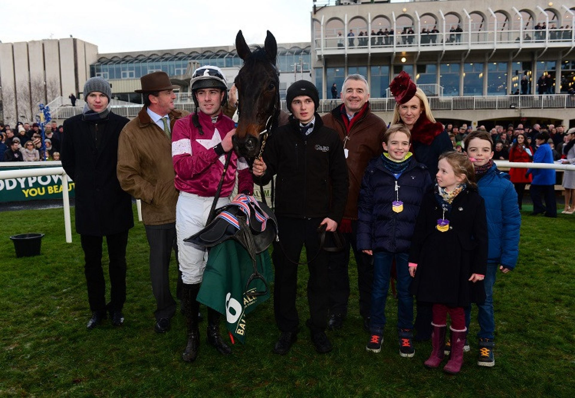 Alighted  (Getaway) pictured with connections after winning a bumper at Leopardstown