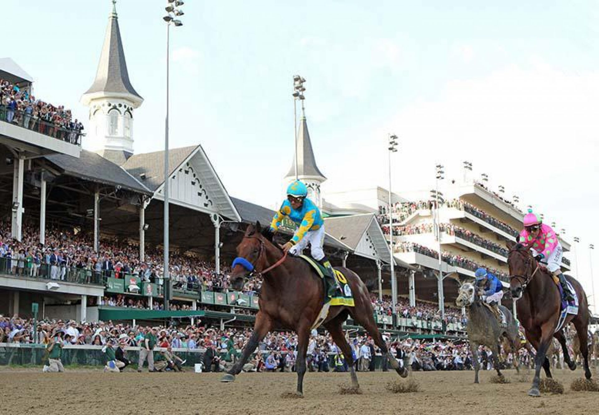 American Pharoah winning the Kentucky Derby