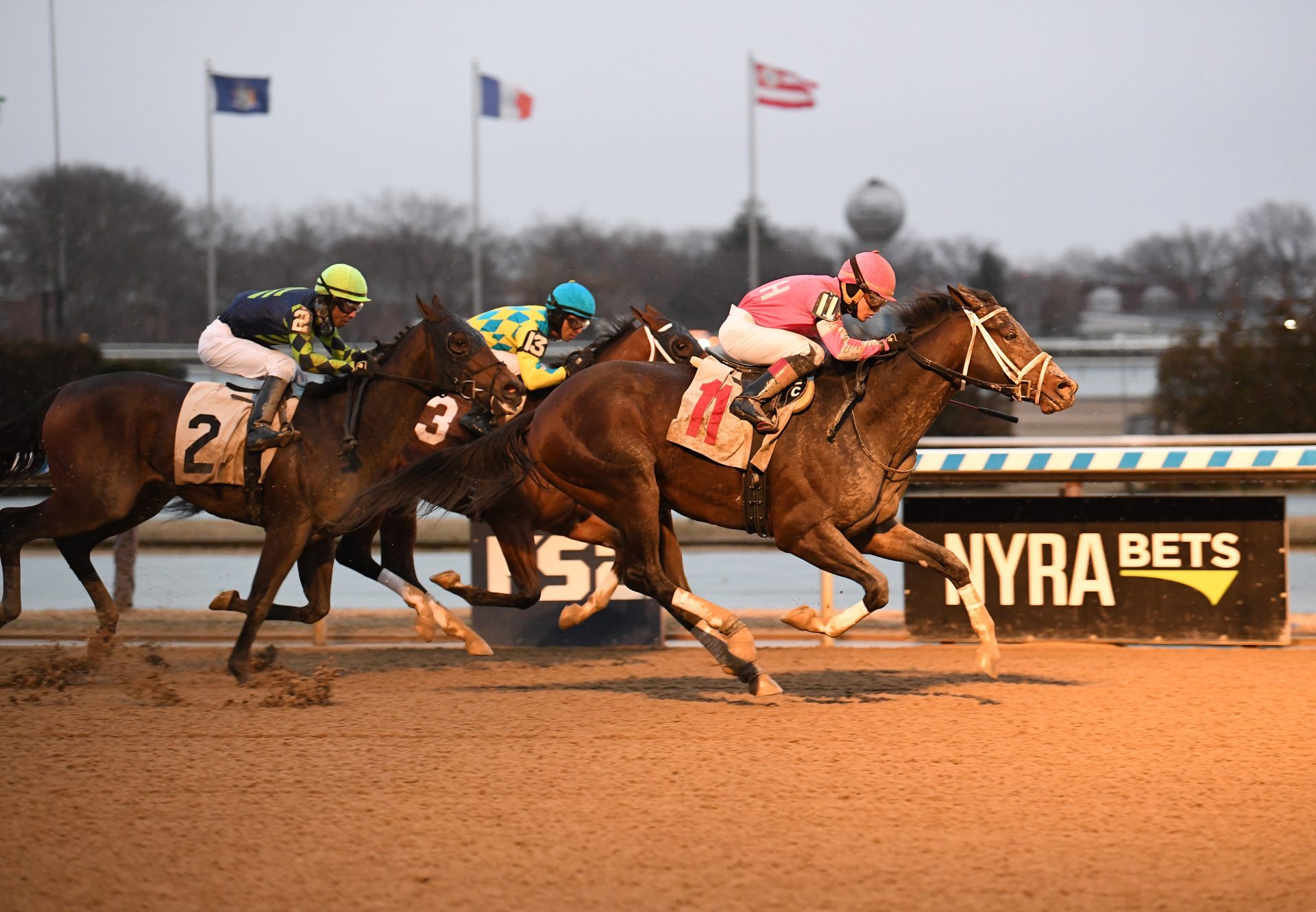 Dangerous Edge (Competitive Edge) winning Aqueduct maiden