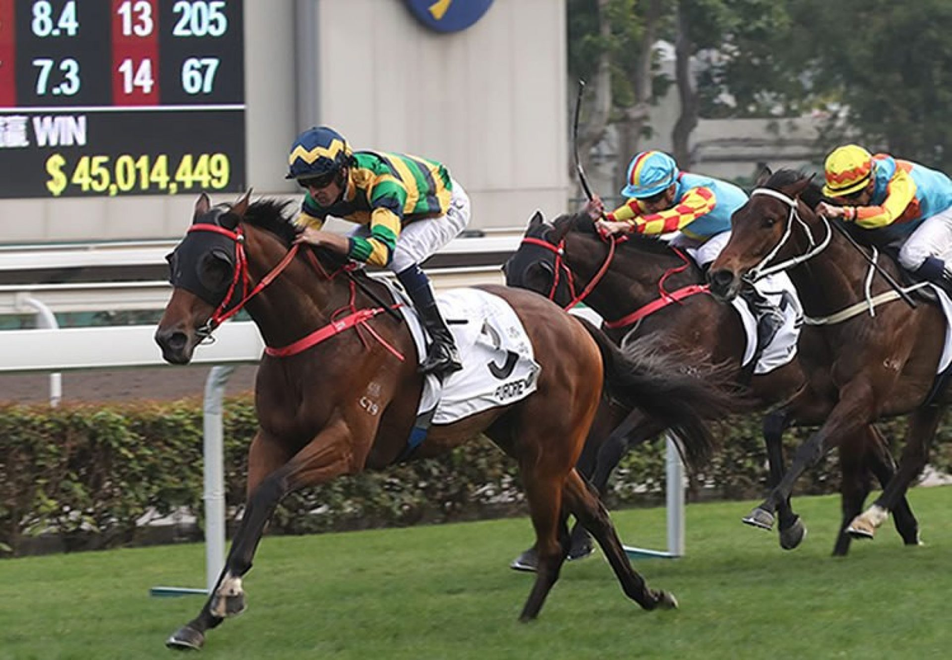 Furore (Pierro) winning the Hong Kong Classic Mile at Sha Tin