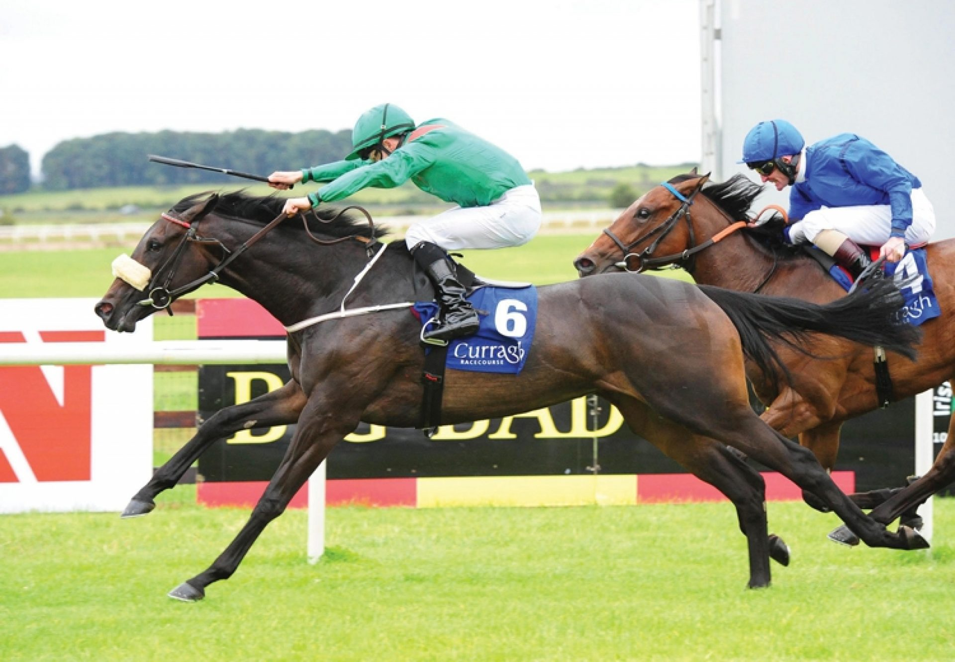 Raydara (Rock Of Gibralatar) winning the G2 Debutante Stakes at the Curragh