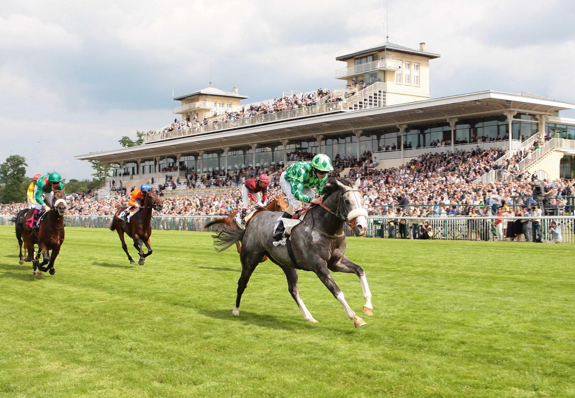 The Grey Gatsby (Mastercraftsman) winning the G1 Prix du Jockey Club at Chantilly