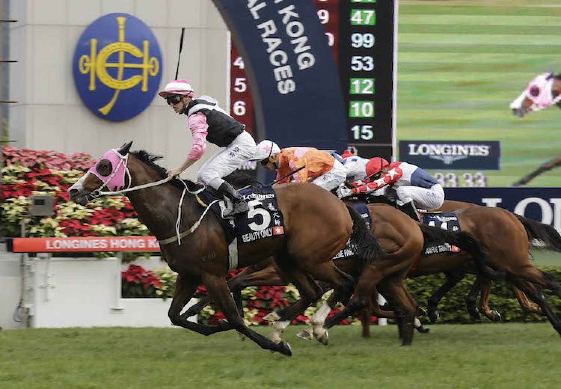 Beauty Only (Holy Roman Emperor) winning the G1 Hong Kong Mile at Sha Tin