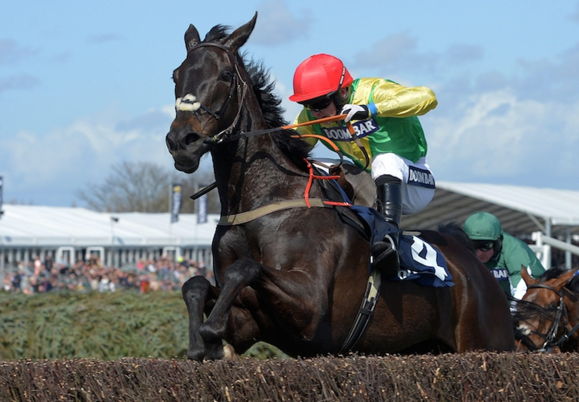 Sizing Granite (Milan) winning the G1 Maghull Novices' Chase at Aintree