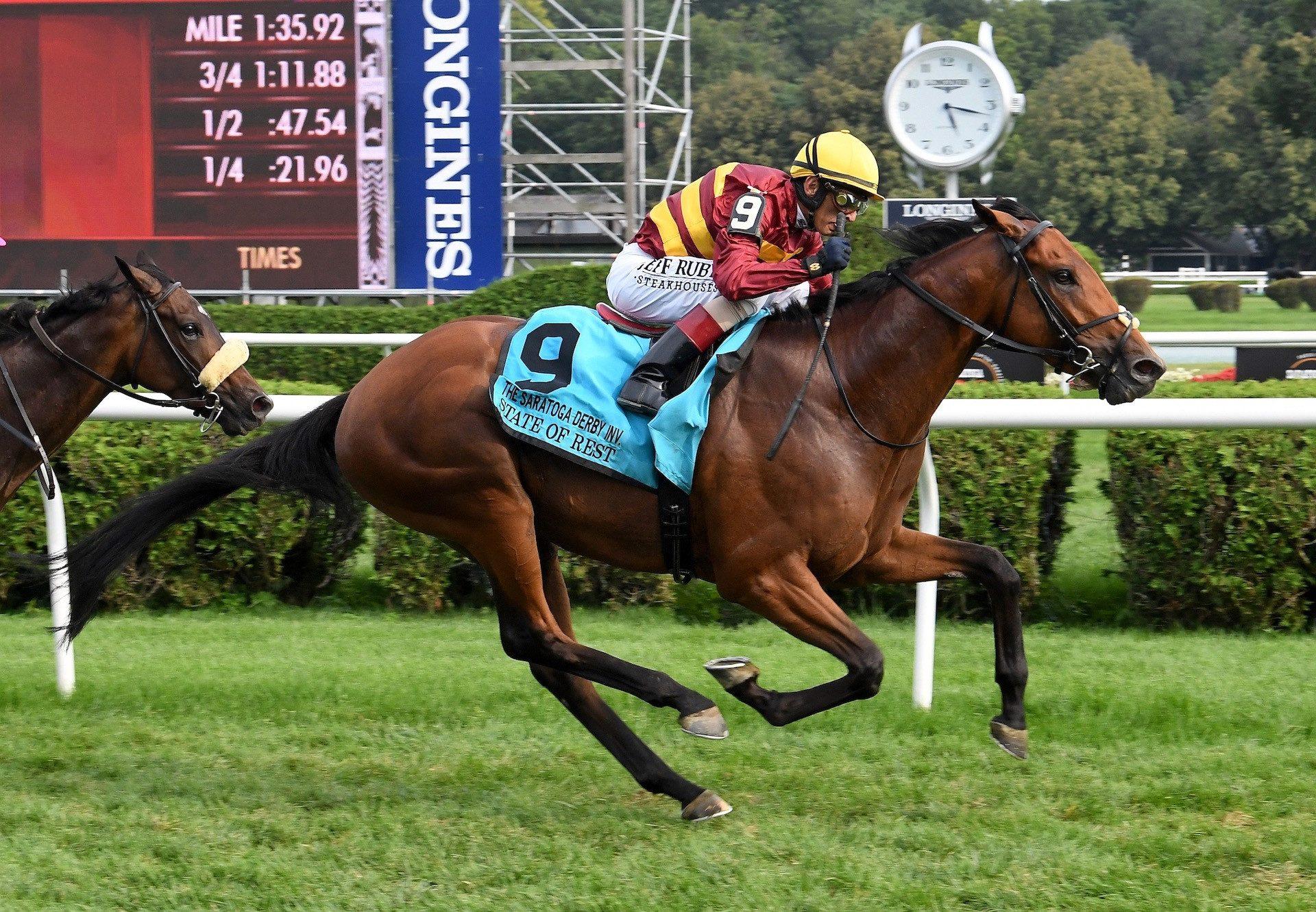 State Of Rest (Starspangledbanner) wins The Saratoga Derby at Saratoga