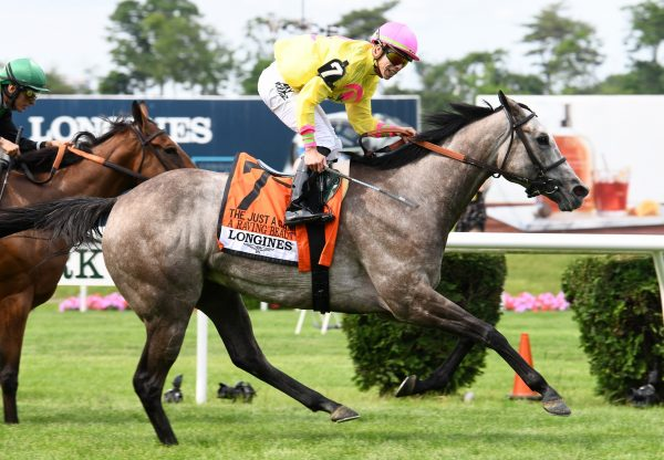 A Raving Beauty (Mastercraftsman) winning the G1 Just A Game Stakes