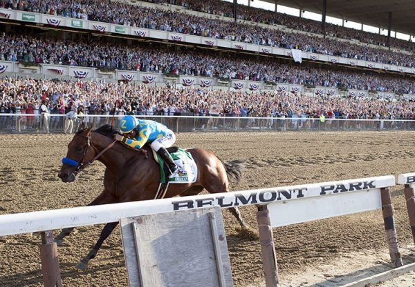 American Pharoah winning the Belmont Stakes