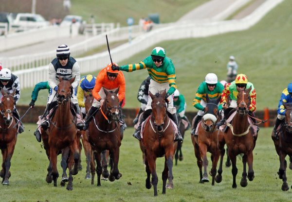 Aramax (Maxios) winning the Gr.3 Fred Winter Hurdle at Cheltenham