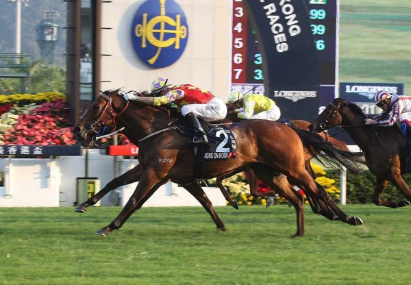 Designs On Rome (Holy Roman Emperor) winning the Hong Kong Cup