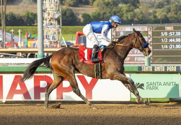 Eda (Munnings) winning the Anoakia Stakes at Santa Anita