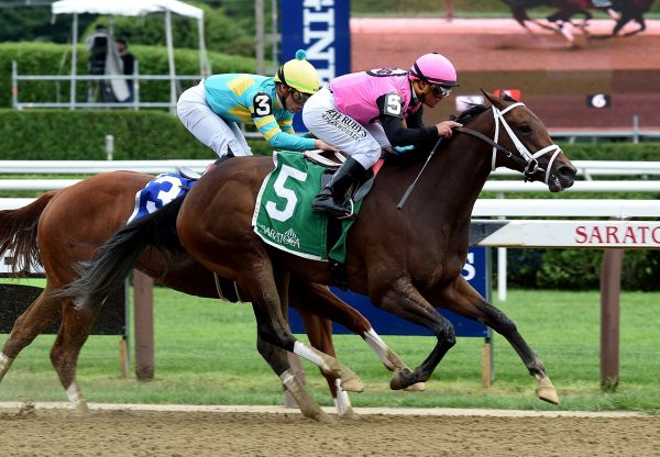 Fierce Lady (Competitive Edge) winning the Seeking the Ante Stakes at Saratoga