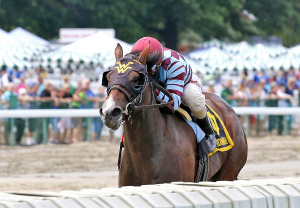 Mae Never No (No Nay Never) winning the Colleen Stakes at Monmouth Park