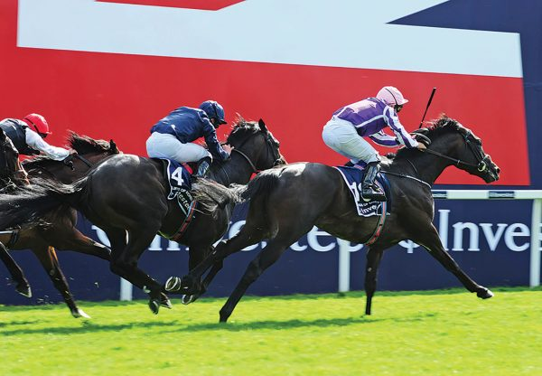 Wings Of Eagles (Pour Moi) winning the G1 Epsom Derby at Epsom