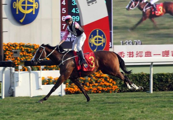 Beauty Only (Holy Roman Emperor) winning the HKG1 Hong Kong Classic Mile at Sha Tin