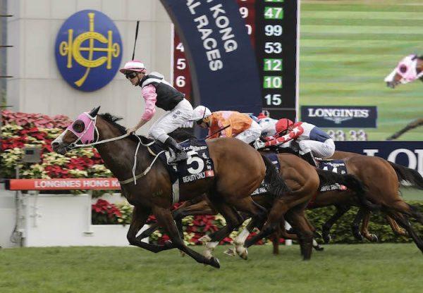 Beauty Only (Holy Roman Emperor) winning the G1 Hong Kong Mile at Sha Tin