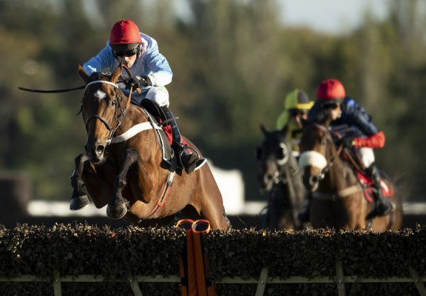 Verdana Blue (Getaway) winning the Listed VIP Hurdle at Kempton
