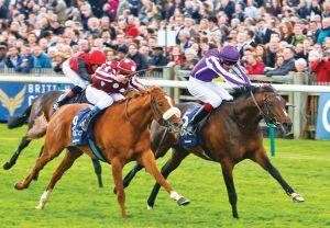 Camelot winning the G1 2,000 Guineas at Newmarket