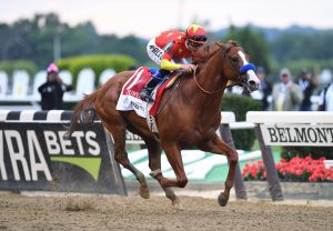 Justify winning the G1 Belmont Stakes at Belmont Park