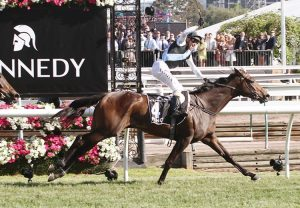 Off Limits (Mastercraftsman) winning the Gr.3 Noble Damsel Stakes