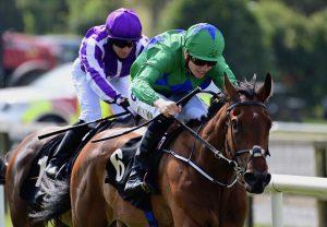 Kalaxana (Rock Of Gibraltar) winning the Lenebane Stakes (L) at Roscommon